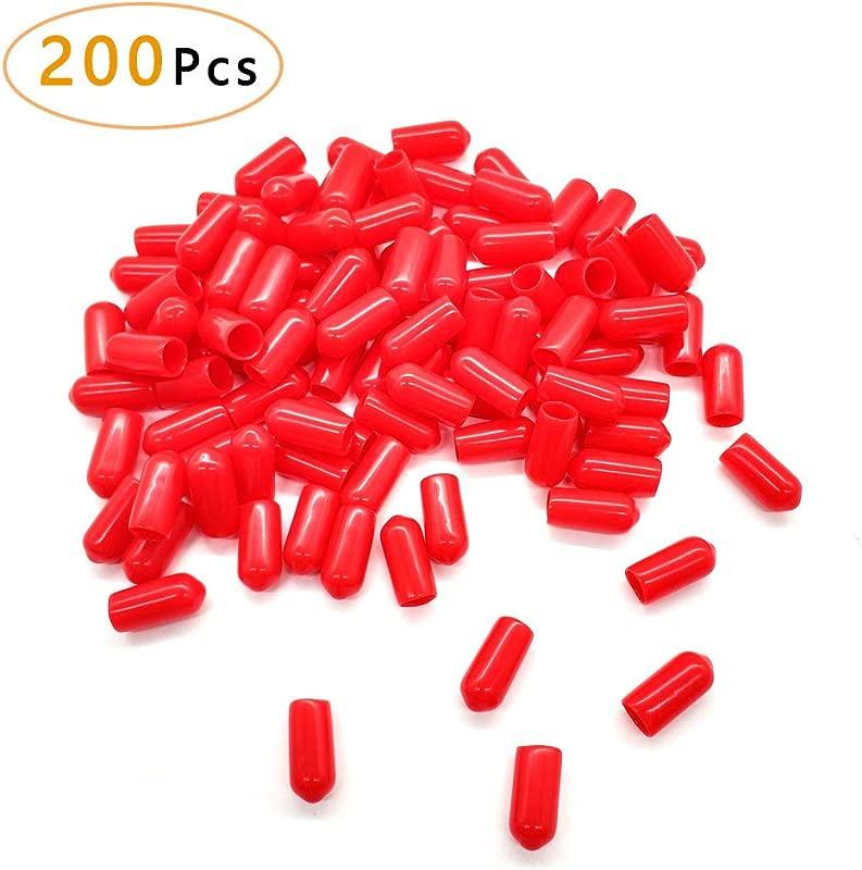200Pcs Pour Spout Covers For Liquor Bottles Pourers Spouts Covers Dust Rubber Caps For Olive Oil Liquor Bottles Red