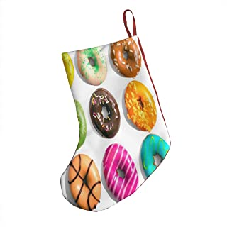 Ernest Congreve Donuts Colorful Christmas Stockings Personalized Fireplace Hanging Plush Large Stocking Decorations for Family Xmas Holiday Season Party Decor Accessory 18 inch