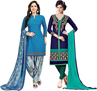 Rajnandini Women's Blue And Blue Cotton Printed Unstitched Salwar Suit Material (Combo Of 2) (Free Size)