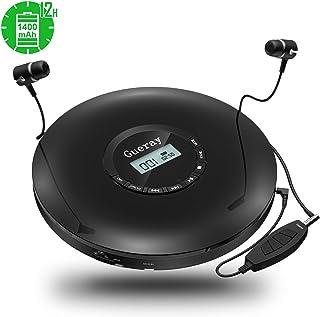 Gueray Portable Lecteur CD Walkman avec Intégré 1400 mAh Batterie Lithium