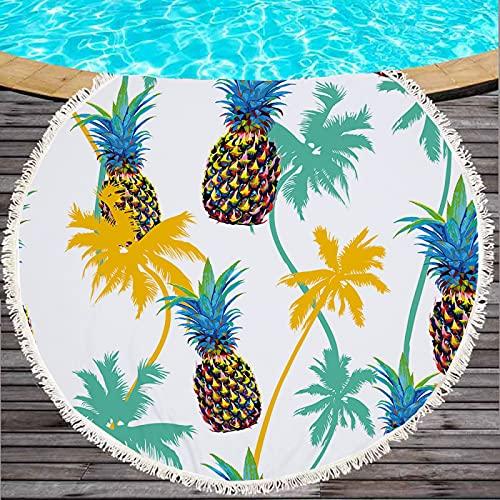 Toallas De Playa Redondas con Estampado De Frutas De Piña, Tapete De Playa De Microfibra, Tapete para Picnic, Mantas Anti-Playa De Secado Rápido 150 * 150cm