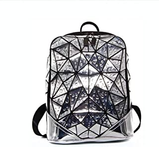 ETH Water Drop PU Bag Outdoor Sports Travel Backpack Casual Lady Lingge Backpack Permanent (Color : Silver)