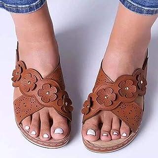 Bagno Sandalo Soft Pantofole,Scarpe da Donna Taglie Forti, Sandali con Zeppa Floreali,Pantofole da Bagno Ciabatte da Spiaggia