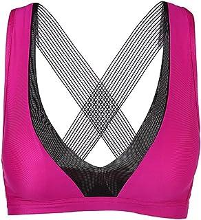 ZYDP Women's Sports Bra Cross Back Medium Support Workout Running Yoga Bra (Color : Pink, Size : L)