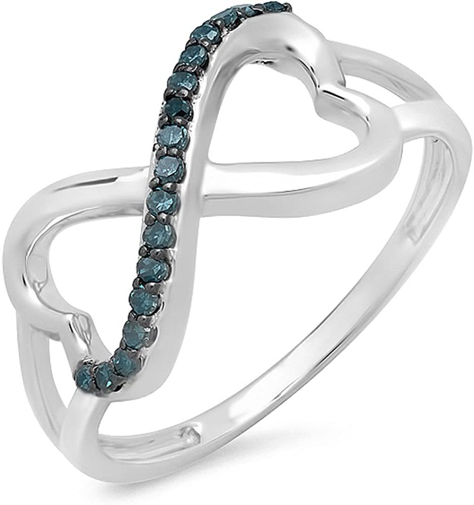 Dazzlingrock Collection 0.15 Carat (ctw) 14k Round Blue Diamond Two Double Heart Infinity Love Bridal Promise Ring, White Gold