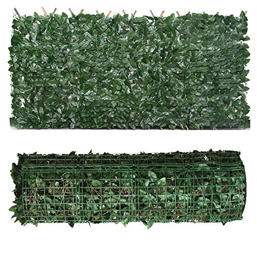 LSXIAO-Decorative Fences Artificial Ivy Fence Hedge Evergreen Artificial Leaf Anti-UV Instant Privacy, No Maintenance, for Gardens, Swimming Pools and Terraces (Color : Green, Size : 1.5x4m)