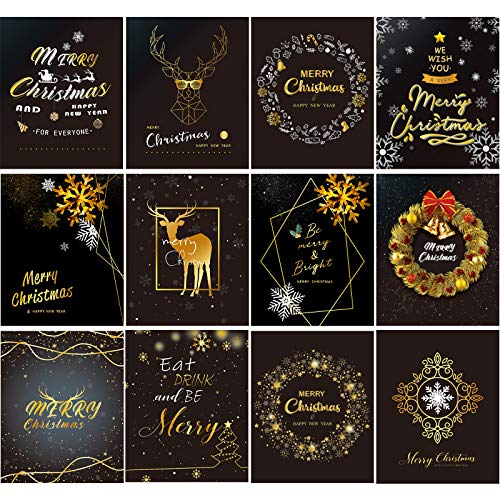 12 Pieces Christmas Wine Stickers Black and Gold Funny Wine Labels Xmas Wine Bottle Cover Set for Merry Christmas Party Decor Supplies