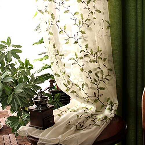 FADFAY Floral Embroidered Semi Sheer Curtains Botanical Design Elegant Green Leaves White Sheer American Country Style Room Darkening Window Curtain Panel Pair, Set of 2, 54 x 84, Rod Pocket Style