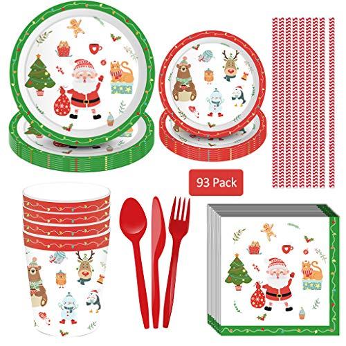 Amycute 93-teiliges Weihnachten Party Zubehör Weihnachtsdeko mit Dessert Teller Platten Servietten Tassen Strohhalme und Geschirr Kit für Weihnachtspartys, Kinderpartys und Kindergeburtstage.