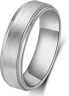 6mm Black/gold/Silver Band Ring for Women Men Titanium Stainless Steel Hand Polished Smooth/matte Surface