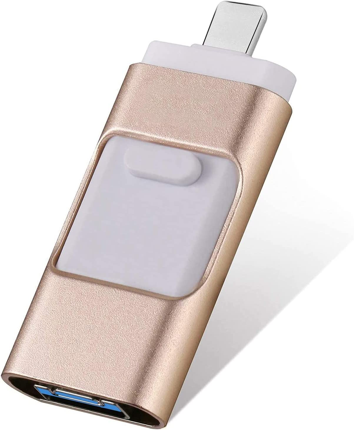 FLPLX Flash Drive 256GB, USB Memory Stick External Storage Thumb Drive Compatible with iPhone, iPad, Android, PC and More Devices (Gold)