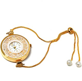 Saraa Traditional Gold Plated Pearl,Crystal Ball Inside Analog Round Shape Dial with Adjustable Chain Bracelet Watch for Girls/Ladies