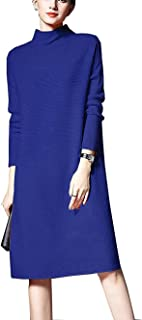 NUTEXROL Women's Turtleneck Ribbed Long Sleeve Knit Sweater Stretchable Dresses