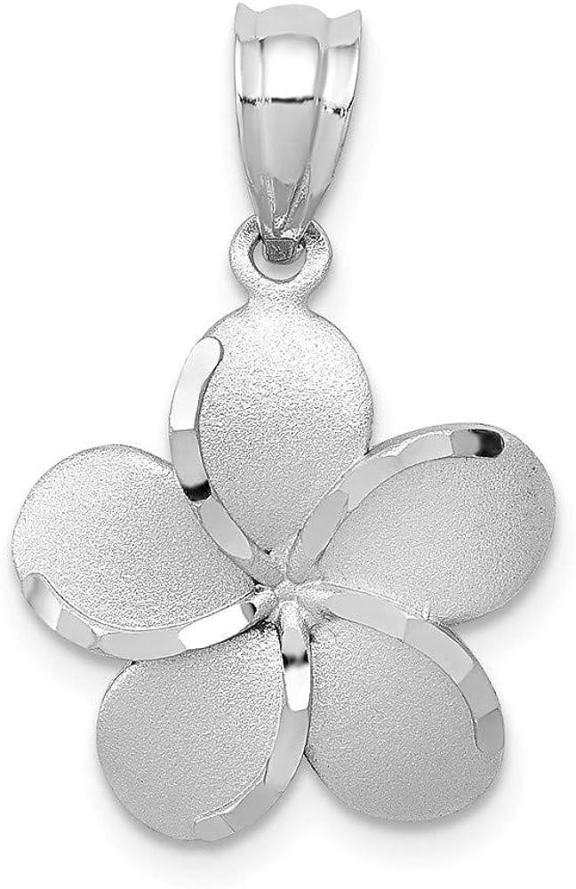 Solid 14k Gold White Polished Satin Diamond-Cut Plumeria Pendant