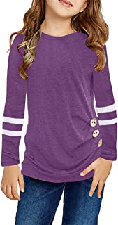 Sponsored Ad - Remikstyt Girls Tunic Tops Long Sleeve Striped Crewneck Casual Button Down Shirts
