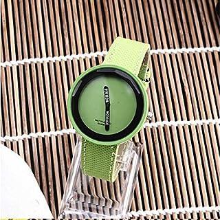 HUFAN Simple Style Round Dial Matte Leather Strap Quartz Watch for Men/Women(Black) (Color : Green)