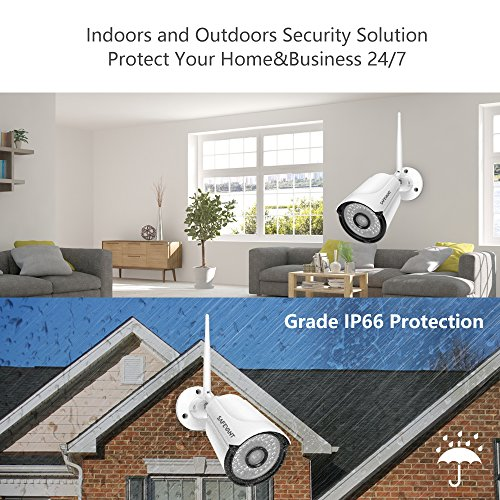 2020 New 1080P Security Camera System Wireless with Monitor,SAFEVANT 8 Channel Home NVR Systems 4pcs 960P Indoor Outdoor CCTV Cameras with Night Vision Motion Detection, NO Hard Drive