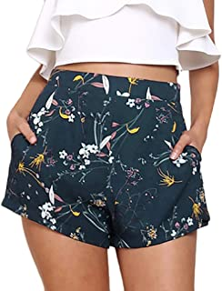 Dunacifa Women Casual Short Pants Summer Floral Print High Waist Shorts Pants Loose Bandage Beach Shorts