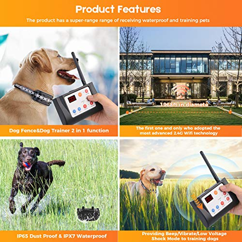 Hokita Dog Fence Wireless & Training Collar Outdoor 2-in-1,Electric Pet Containment System,Waterproof Reflective Stripe Collar, Harmless for All Dogs
