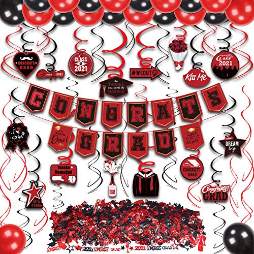 kortes 2021 Red and Black Graduation Decorations Kit, Congrats Grad Banner Hanging Swirls Graduations Confetti Red and Black Balloons for Grad Party Decorations Supplies