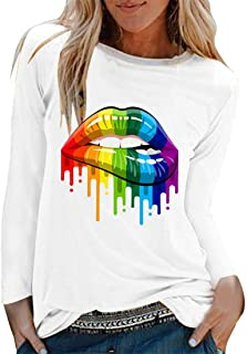 Womens T-Shirts Casual Long Sleeves Basic Lightweight Tops Classic Round Neck Tunic Blouses Stylish Printed T-Shirt All-Ma...