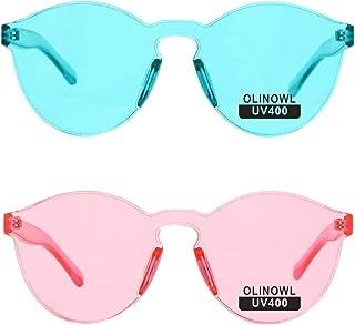 Rimless Sunglasses Oversized Colored Transparent Round Eyewear Retro Eyeglasses for Women Men …