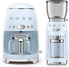 Smeg DCF02PBUS 50's Retro Style Drip Filter Coffee Maker Bundle with Smeg CGF01PBUS Coffee Grinder - Pastel Blue