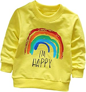 幼童女男孩长袖彩虹印花棉质柔软套头T恤上衣服装