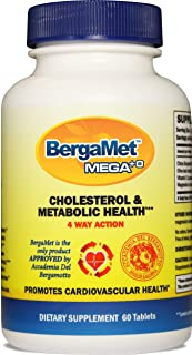 Citrus Bergamot MEGA+O 40% BPF 600mg 60 Tablets - Worlds Strongest Natural Cholesterol & Heart Supplements w/Multiple Clinical Studies. Lower Blood Glucose. Statin Reducer. Non-GMO. Vegetarian.