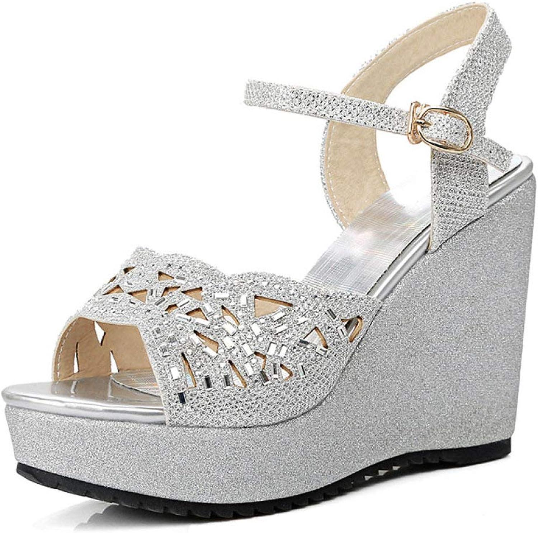 MEIZOKEN Women's Glitter Rhinestone Platform Wedge Sandals Fashion Cutout Open Toe shoes Casual Anti-Slip Ankle Strap Sandal