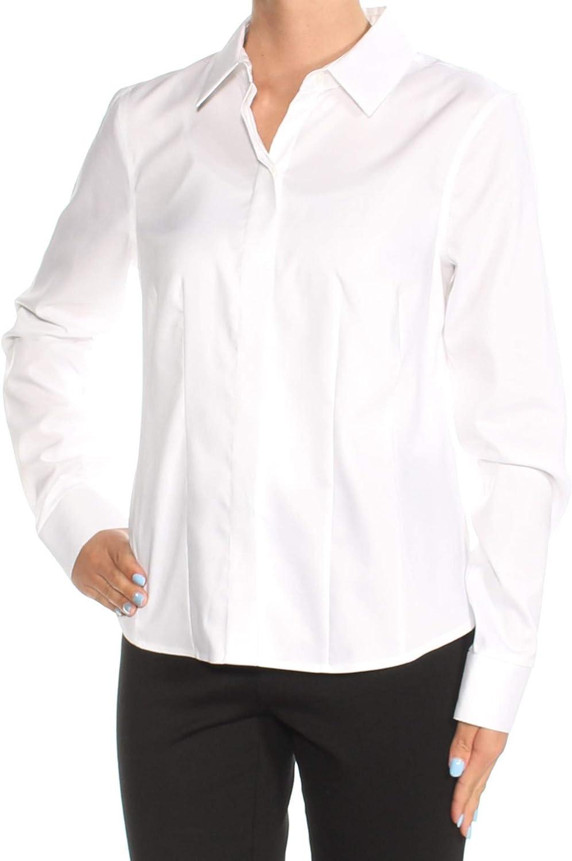 Tommy Hilfiger Women's Collared Non Iron Buttondown Shirt, White, 2