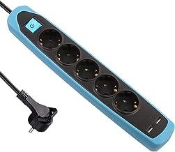 Electraline 62157 RubberLine stekkerdoos 5-voudig met schakelaar + 2 USB 2.1A, kabel 2m / meervoudige stekkerdoos/tafelcon...