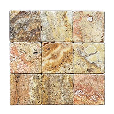 Scabos Travertine 4 X 4 Tile, Tumbled