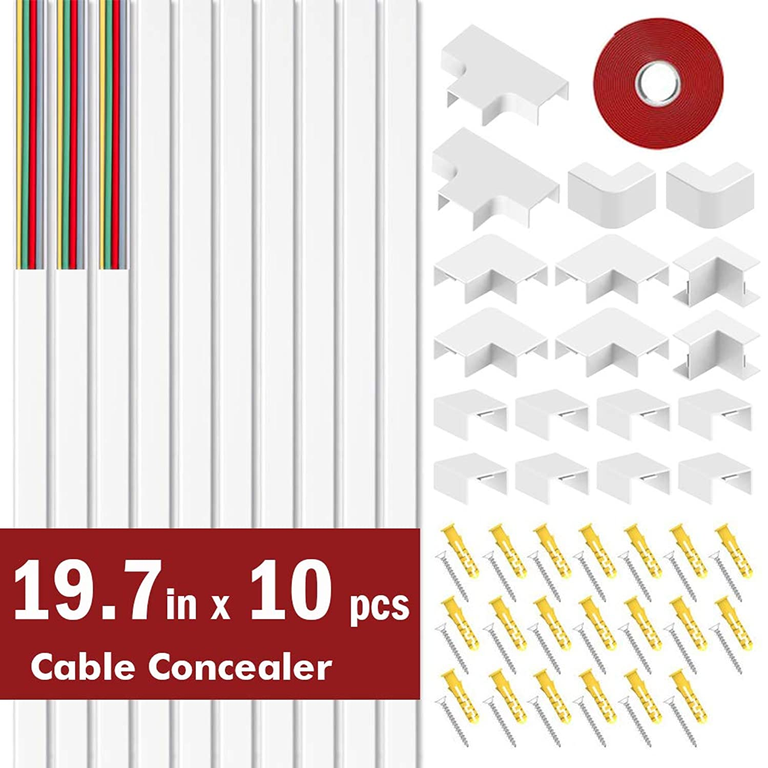 "BEYYON Cord Cover On-Wall Cable Concealer Raceway Kit, 197"" Cable Management Cord Hider to Hide Wall Mounted TV Cables, Speaker Wires, Computer Cords - 0.98"