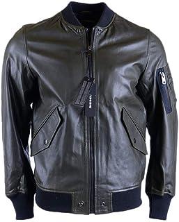 d1fe5582 Diesel R Kittie Mens Bomber Jacket Genuine Leather Outwear Slim Fit Coat  Dark Green