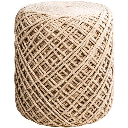 Invicta Interior Maritimer Sitzhocker XL Wool 40cm beige Pouf hochwertiger Wollbezug Hocker Fußhocker Wohnaccessoire