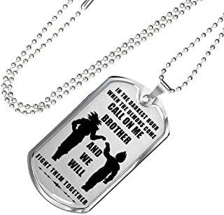 Meaningfull Brother Goku & Vegeta Brother Dog Tag Pendant Military Chain - Call On Me Brother - Fan Dragon Ball Gift for Men Boys Big Brother - Gag Gift for Veteran, Friend