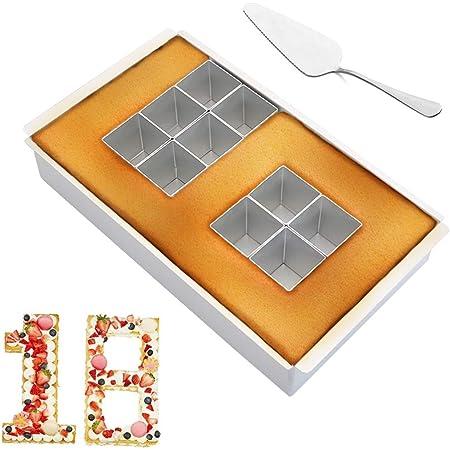 Moulle Gâteau Anniversaire Chiffre, Nombre Cake, Moulle Chiffre Cake, Moulle Number Cake, Moule Gâteau Rectangle Pratique pour Faire Chiffres et Lettres, Amovibles Blocs Combinaison libre