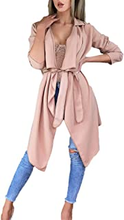 Sunhusing Ladies Bright Solid Color Casual Loose Long Sleeve Bow Tie Cardigan Jacket Trench Coat