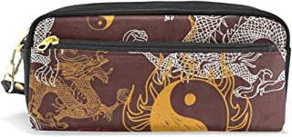 Pen Case Chinese Stylish Dragon Yin Yang Pencil Pouch Makeup Cosmetic Travel School Bag