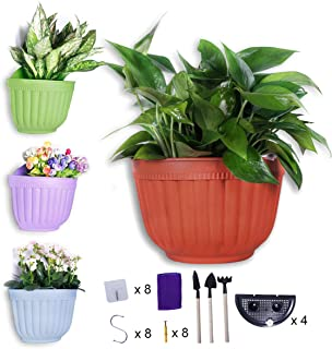 6 inch Wall Hanging Planters Pot Plant Hangers Vertical Flower Basket Container Wall Mounted Flower Pots with Drainage for Indoor Outdoor with Extra Accessories, 4 Set