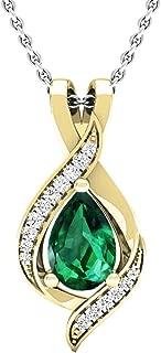 Dazzlingrock Collection 14K Pear 9X6 MM Lab Created Gemstone & Round Diamond Ladies Pendant, Yellow Gold