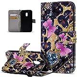Motorola Moto G4juego caso, Motorola Moto G4Play Cover, ikasus 3d Colorful Painted diseño de mariposas Premium sintética funda de piel tipo Fold Funda tipo cartera funda de cierre magnético estilo l