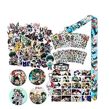 My Hero Academia Stickers Gift Set - 73 Pcs Anime Cartoon Laptop Stickers 30 Postcards 12 Sheet My Hero Academia Sticker 2 Keychain 4 Button Pins,1 Lanyard,Tattoo Sticker,Bracelet for MHA Fans  B