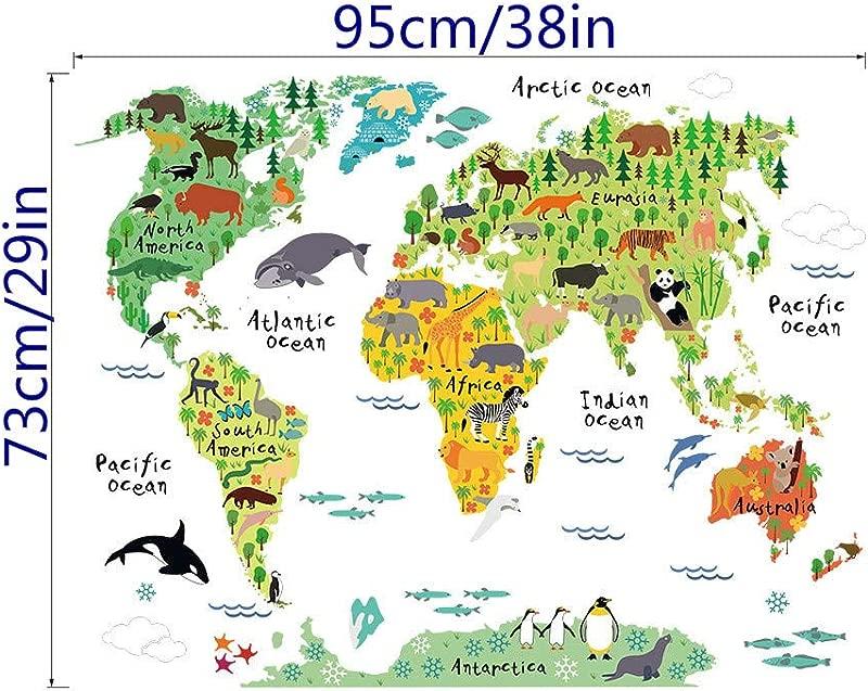 Lovely Cartoon Animal World Map Wall Sticker For Bedroom