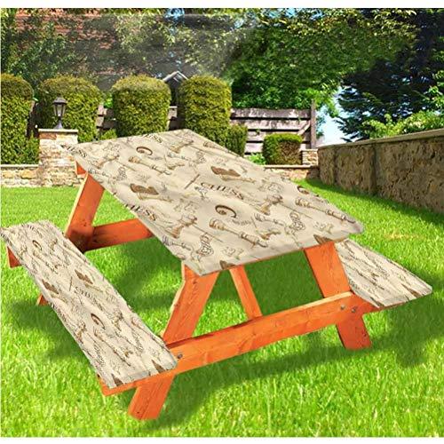 Mantel de mesa y banco de picnic, color beige, juego de ajedrez, estilo retro, con borde elástico, 28 x 72 pulgadas, juego de 3 piezas para camping, comedor, exterior, parque, patio