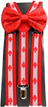 Canada Canadian Flag Bow Tie and Suspender Set Combos Mens Womens
