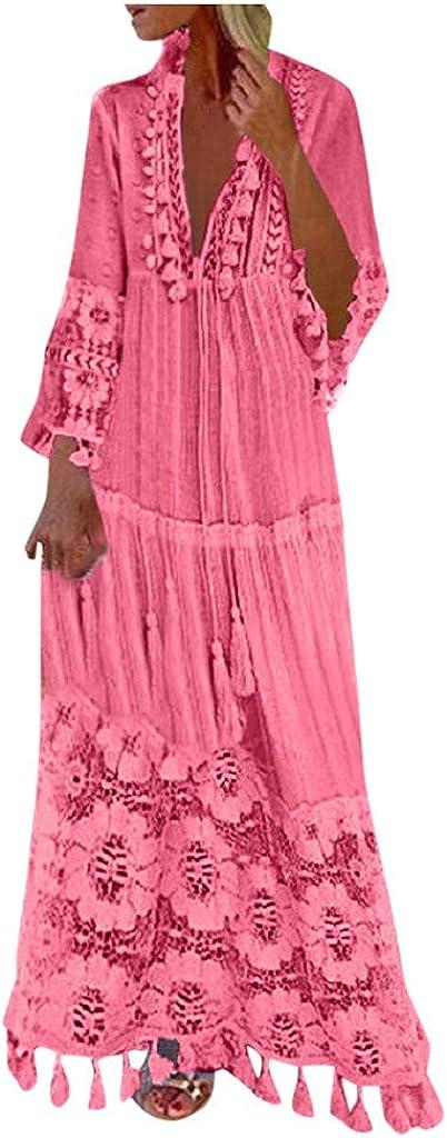 Women Lace Tassel Long Lace Shirt Dress,Fashion Casual Bohemian Plus Size V-Neck Solid Color Wedding Guest Dresses