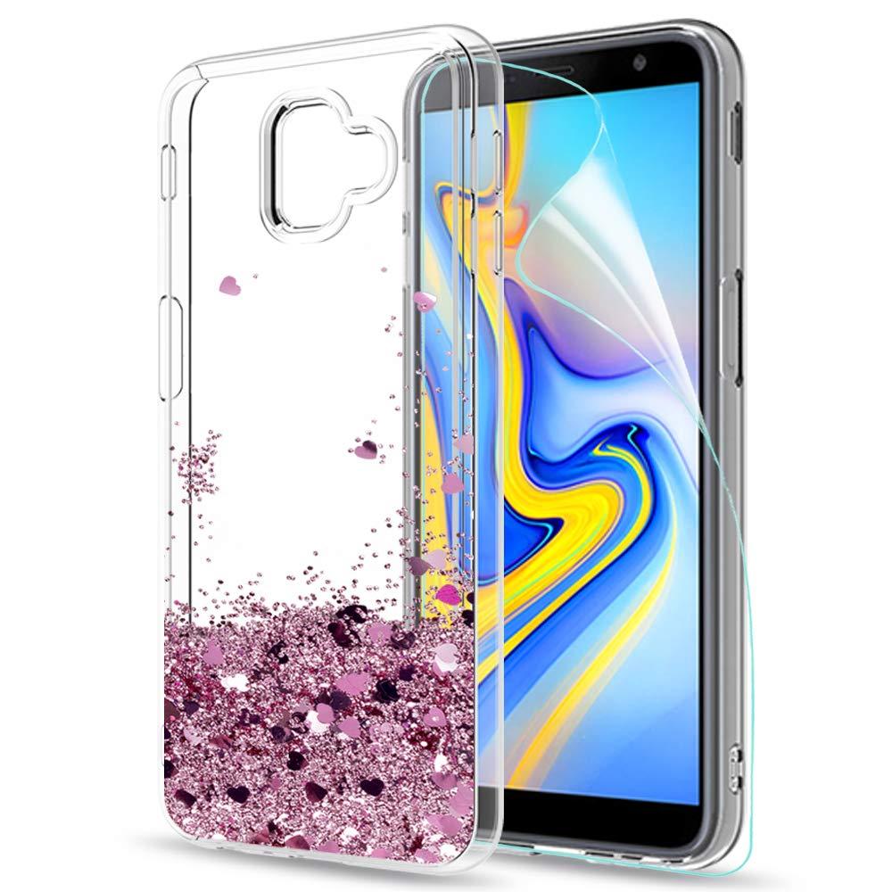 LeYi Compatible Funda con Samsung Galaxy J6 Plus 2018 Silicona Purpurina Carcasa con HD Protectores de Pantalla,Transparente Cristal Bumper Telefono Gel TPU Fundas Case para Movil J6 Plus ZX Oro Rosa: Amazon.es: