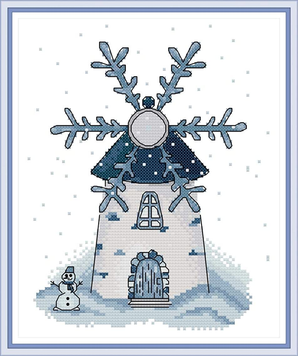 Cross Stitch Stamped Kits Pre-Printed Cross-Stitching Starter Pattern for Beginners Adults, Embroidery Kits Needlepoint Kits Winter Windmill Pattern for Home Wall Decorations